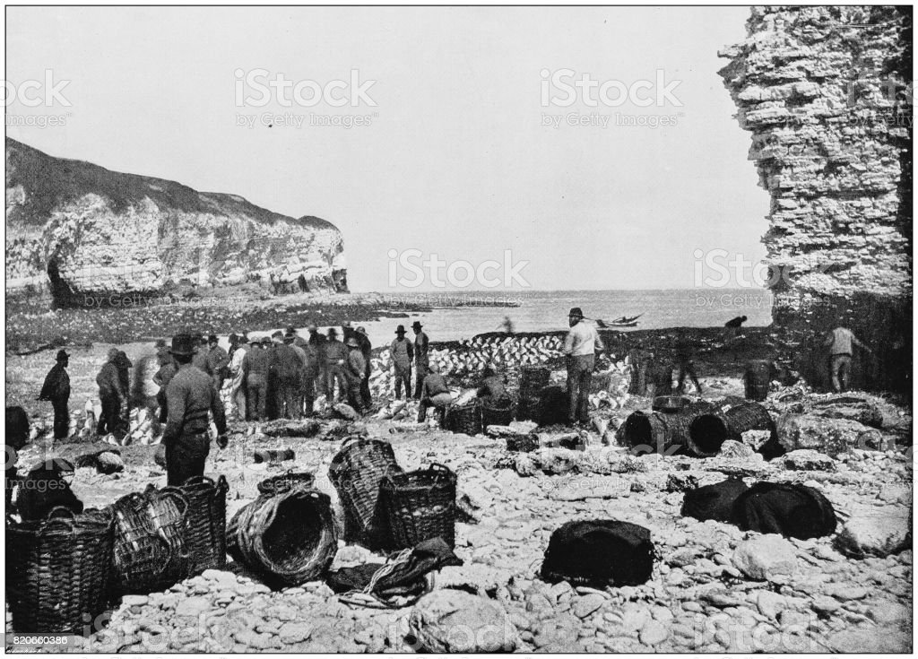Antique photograph of seaside towns of Great Britain and Ireland: Flamborough stock photo