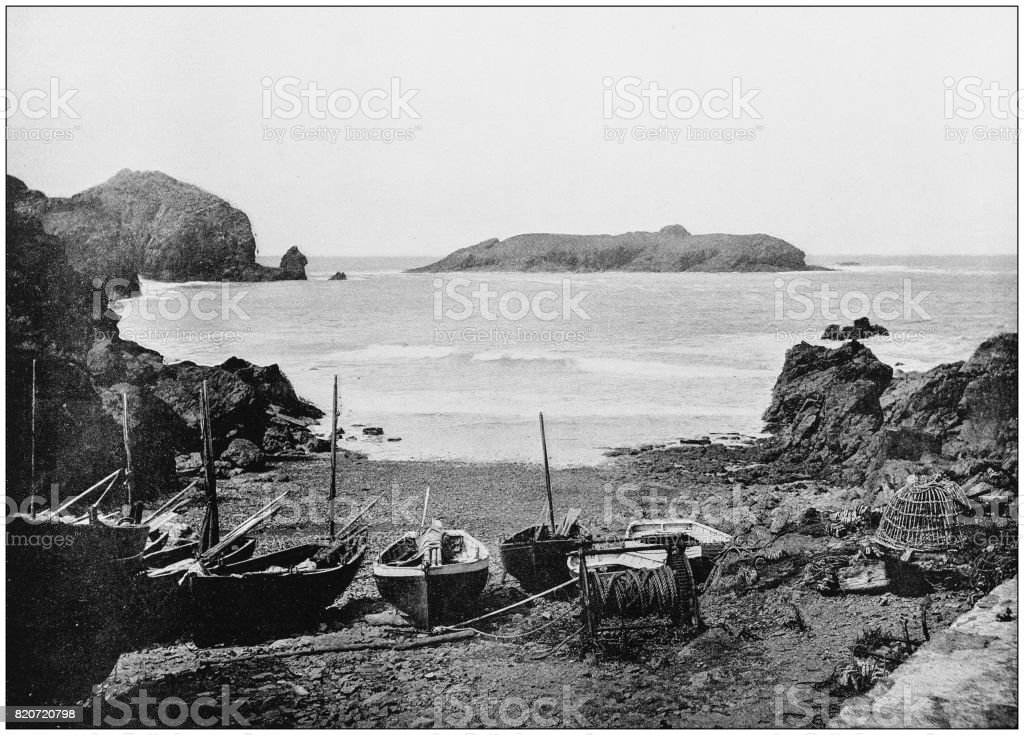 Antique photograph of seaside towns of Great Britain and Ireland: Mullion Cove stock photo