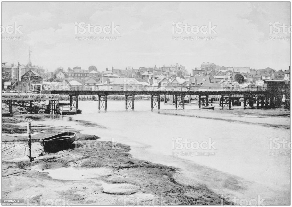 Antique photograph of seaside towns of Great Britain and Ireland: Lymington stock photo