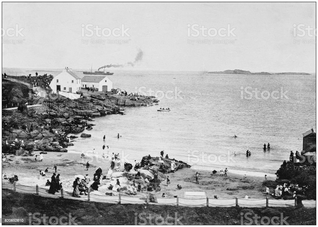 Antique photograph of seaside towns of Great Britain and Ireland: Portrush stock photo