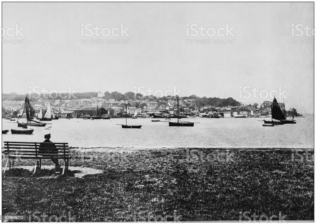 Antique photograph of seaside towns of Great Britain and Ireland: West Cowes stock photo