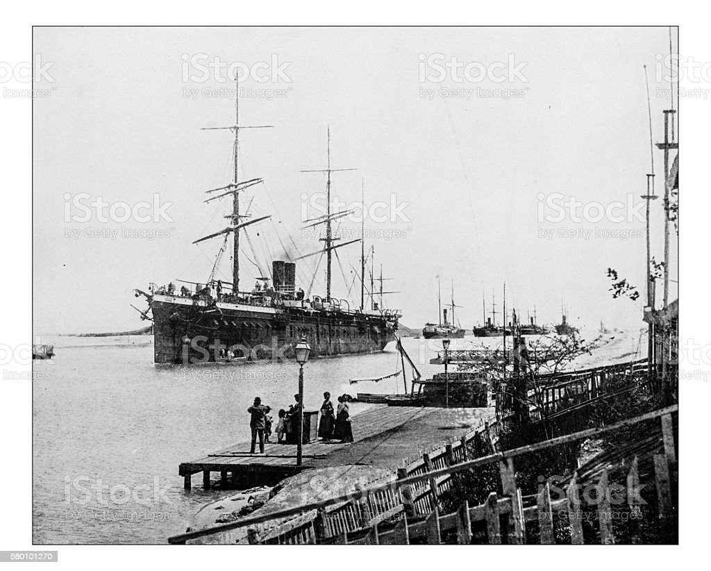 Antique photograph of ships in the Suez Canal- 19th century stock photo