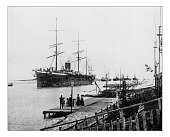 Antique photograph of ships in the Suez Canal- 19th century