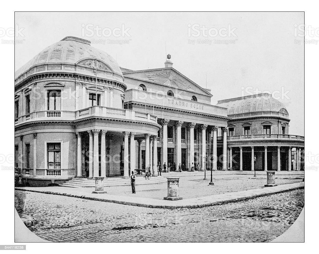 Antique photograph of Solis Theatre (Montevideo, Uruguay), 19th century stock photo