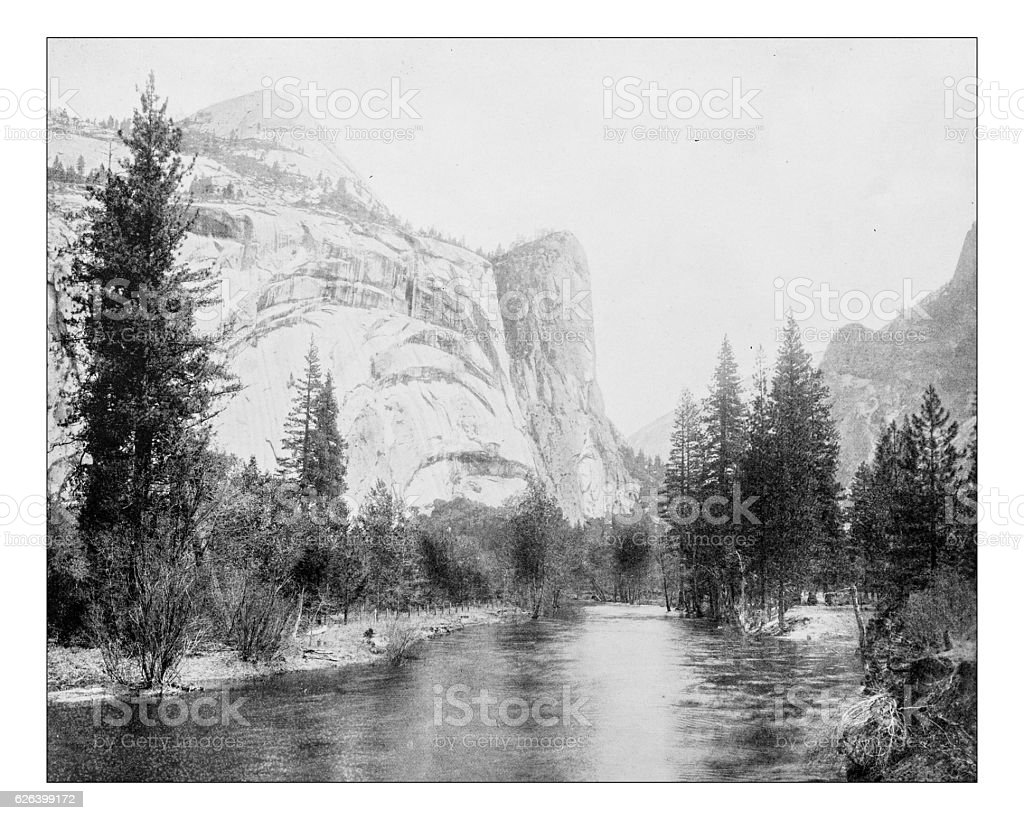 Antique photograph of South Dome, Yosemite Valley stock photo