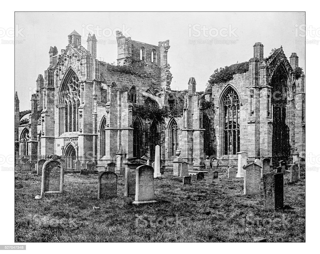 Antique photograph of St Mary's Abbey in Melrose (Scotland) stock photo