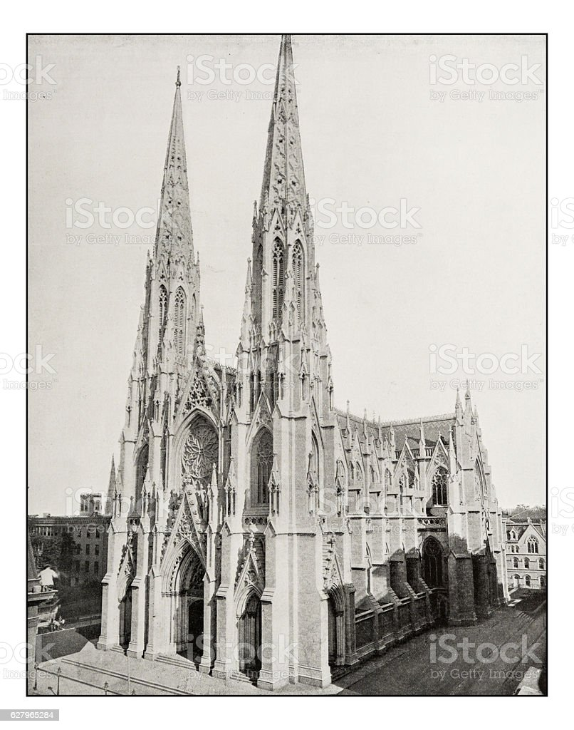 Antique photograph of St. Patrick Cathedral, New York stock photo