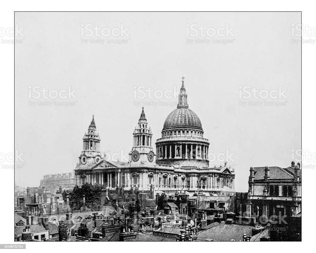 Antique photograph of St Paul's cathedral (London, England)-19th century stock photo