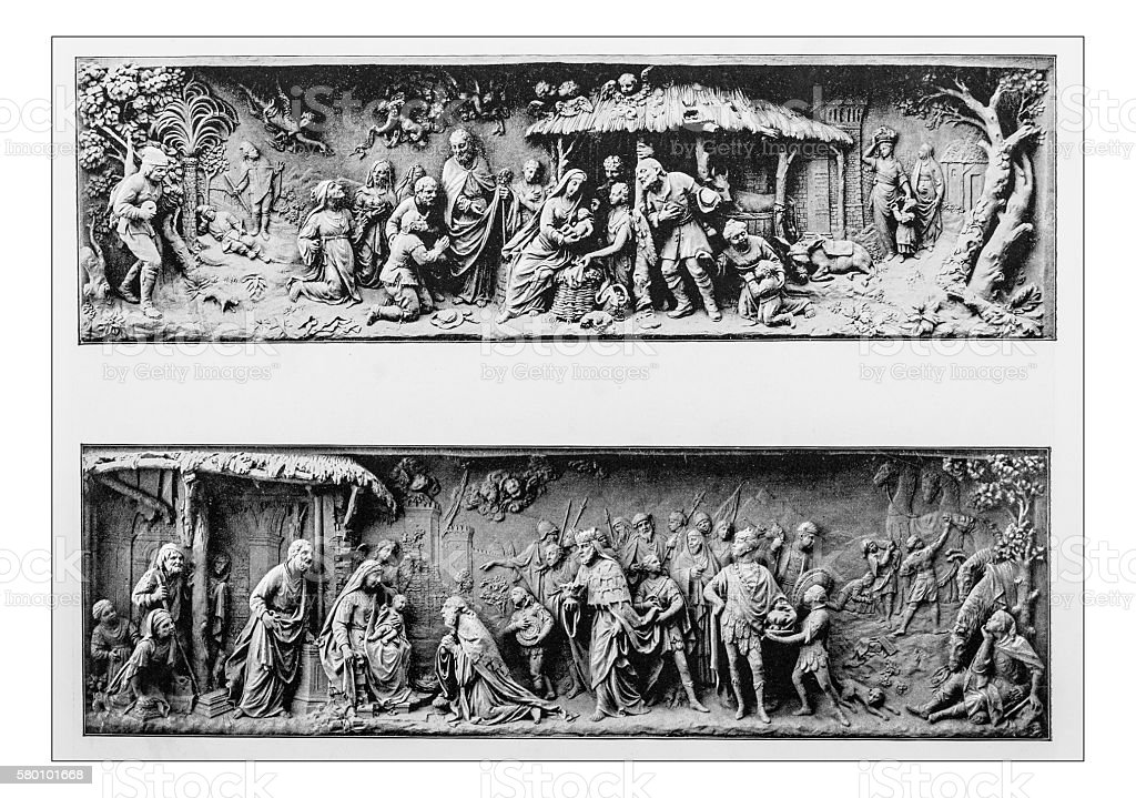 Antique photograph of stone reliefs-Basilica di S.Giovanni e Paolo(Venice, Italy) stock photo