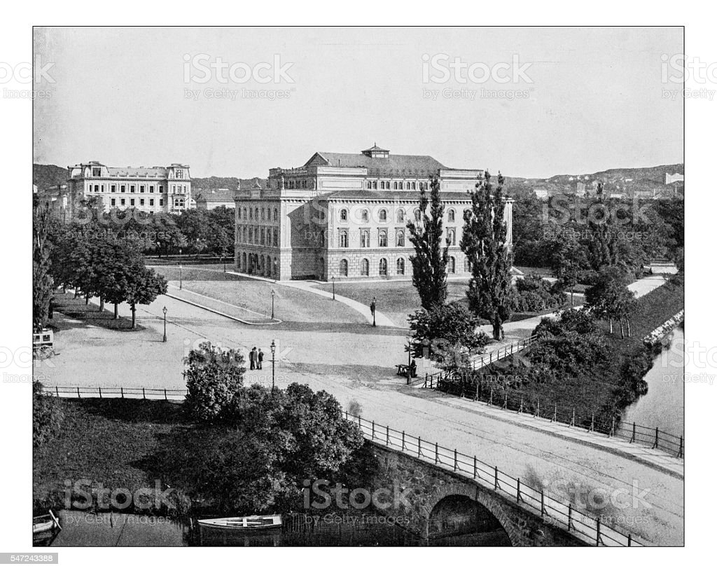 Antique photograph of Stora Teathre or Storan (Gothenburg,Sweden)-19th century stock photo