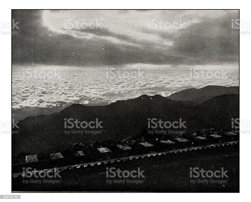 Antique photograph of Sunrise on Pike's Peak, Colorado stock photo