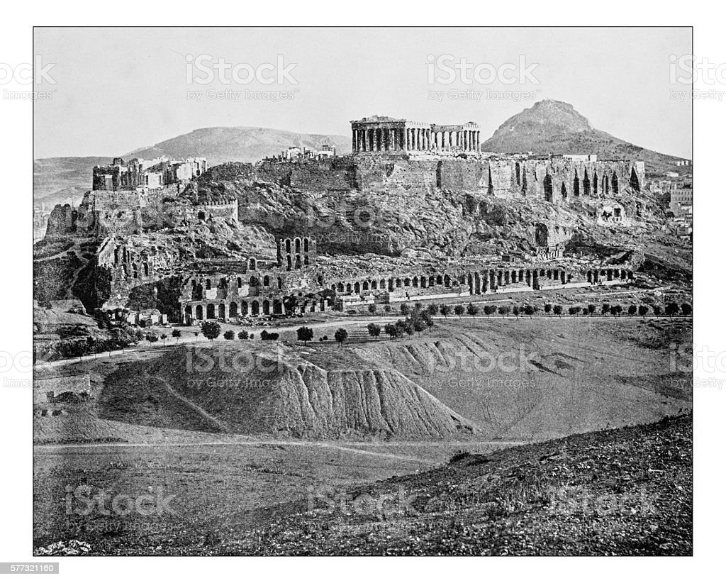 Antique photograph of the Acropolis of Athens (Greece)-19th century stock photo