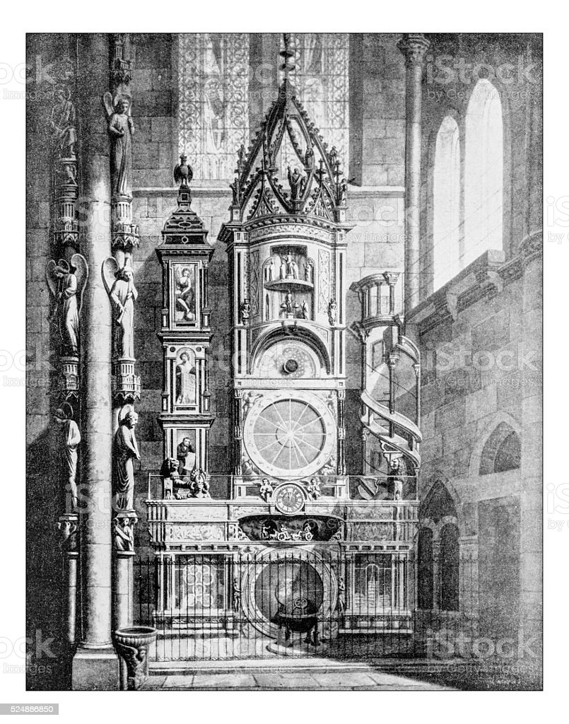 Antique photograph of the astronomical clock (Strasbourg cathedral, France) stock photo