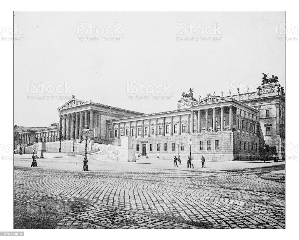 Antique photograph of the Austrian Parliament Building (Vienna, Austria)-19th century stock photo