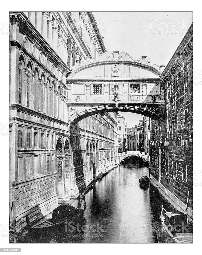 Antique photograph of the Bridge of Sighs (Venice, Italy)-19th century stock photo