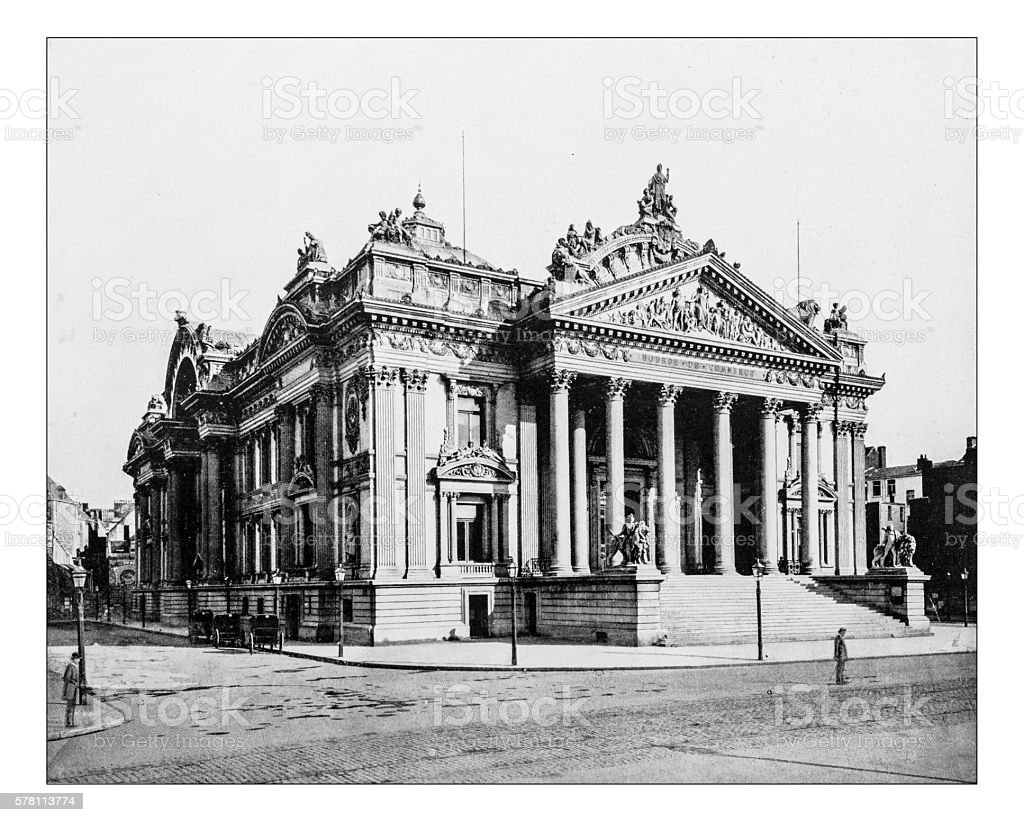 Antique photograph of the Brussels Stock Exchange (Belgium)-19th century stock photo