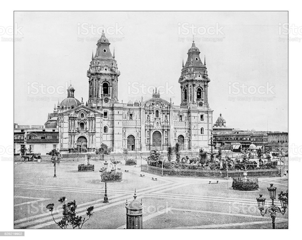 Antique photograph of the Cathedral of Lima (19th century) stock photo