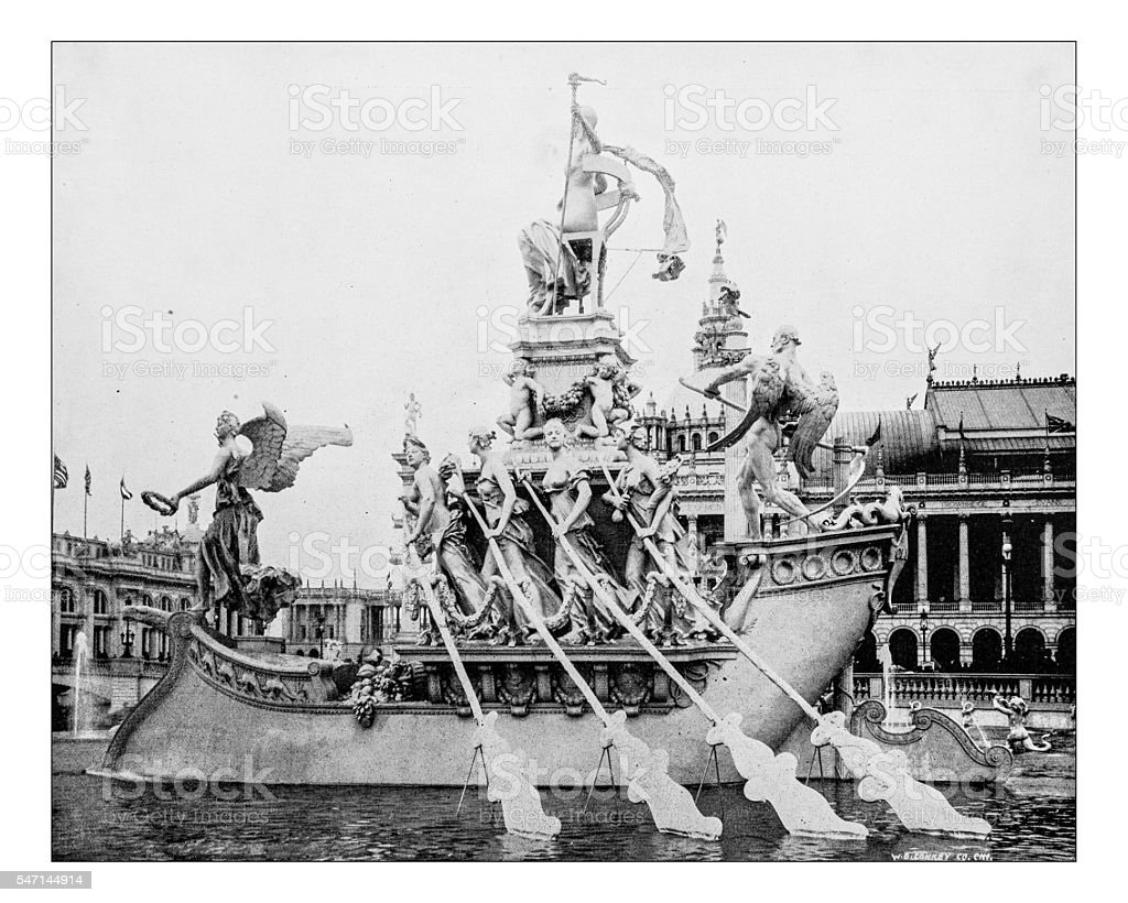 Antique photograph of the Columbain fountain(World's Columbian Exposition, Chicago,USA-1893) stock photo