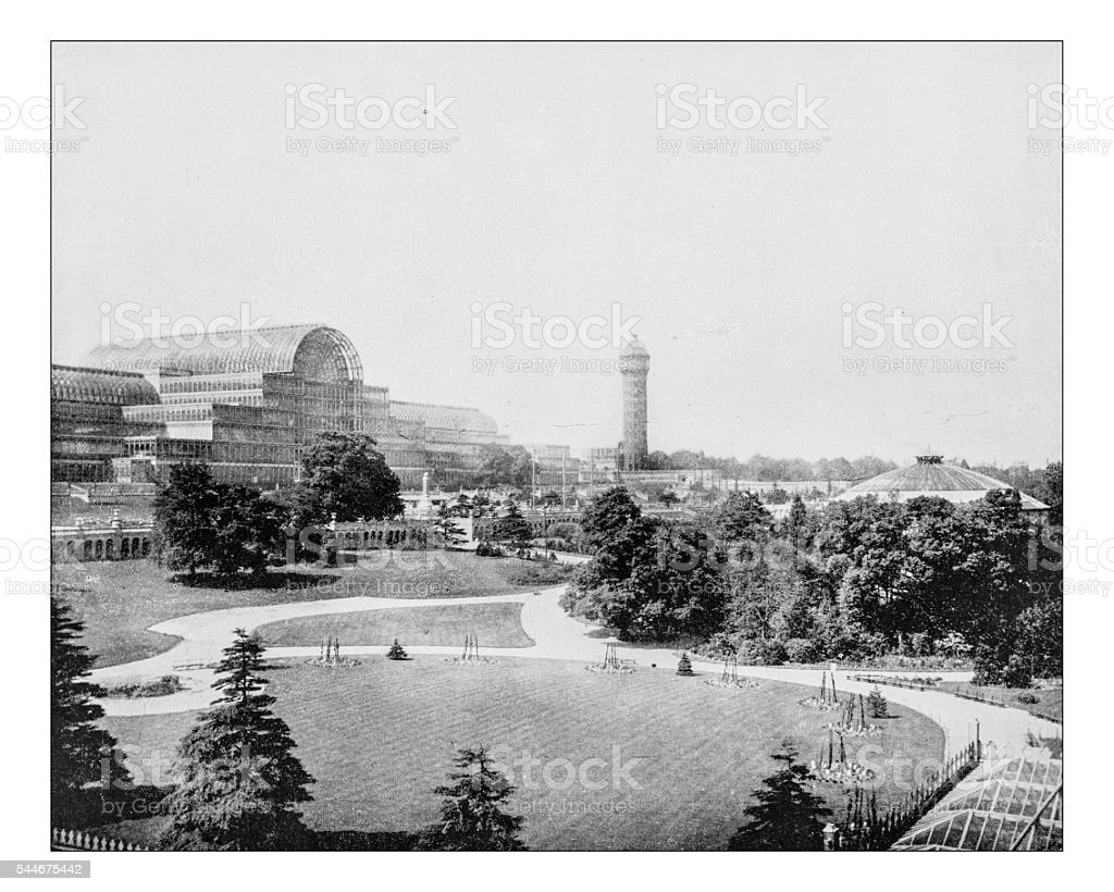 Antique photograph of the Crystal Palace at Sydenham(London,England)-19th century stock photo