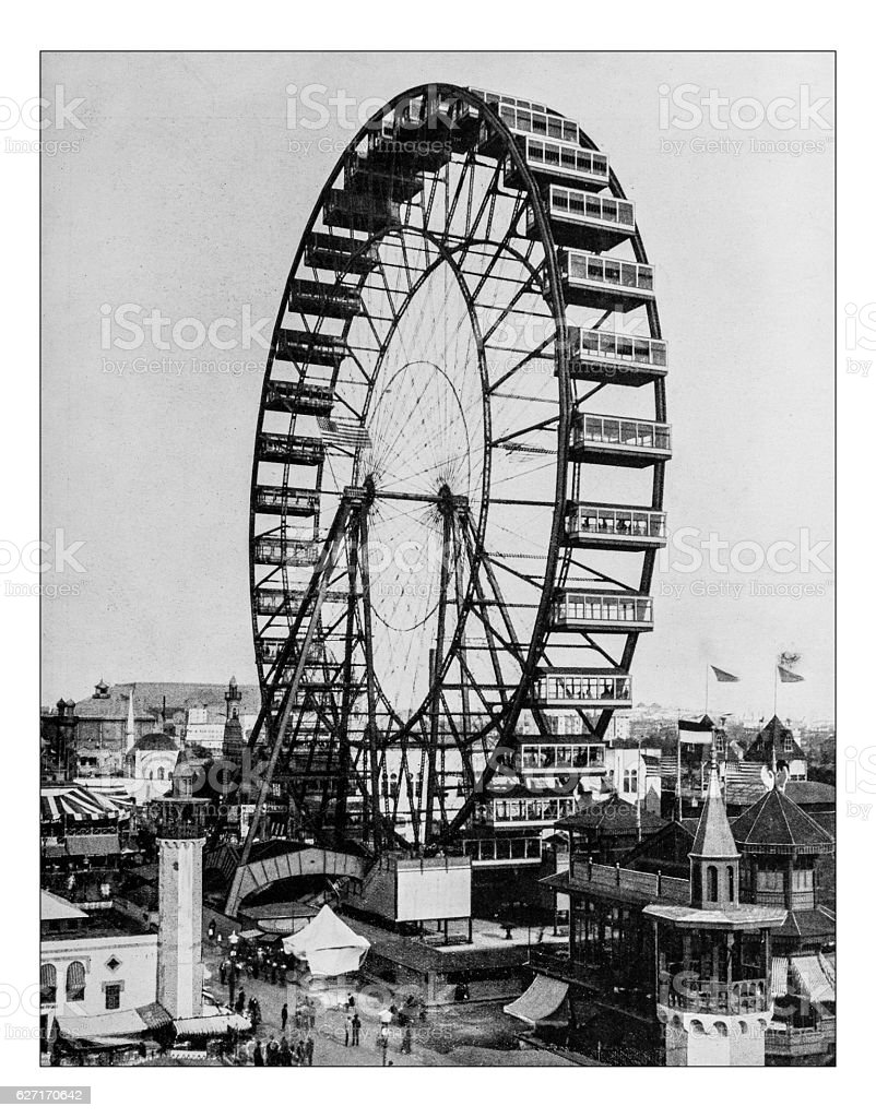 Antique photograph of the Ferris wheel -World's Columbian Exposition,Chicago-1893 stock photo
