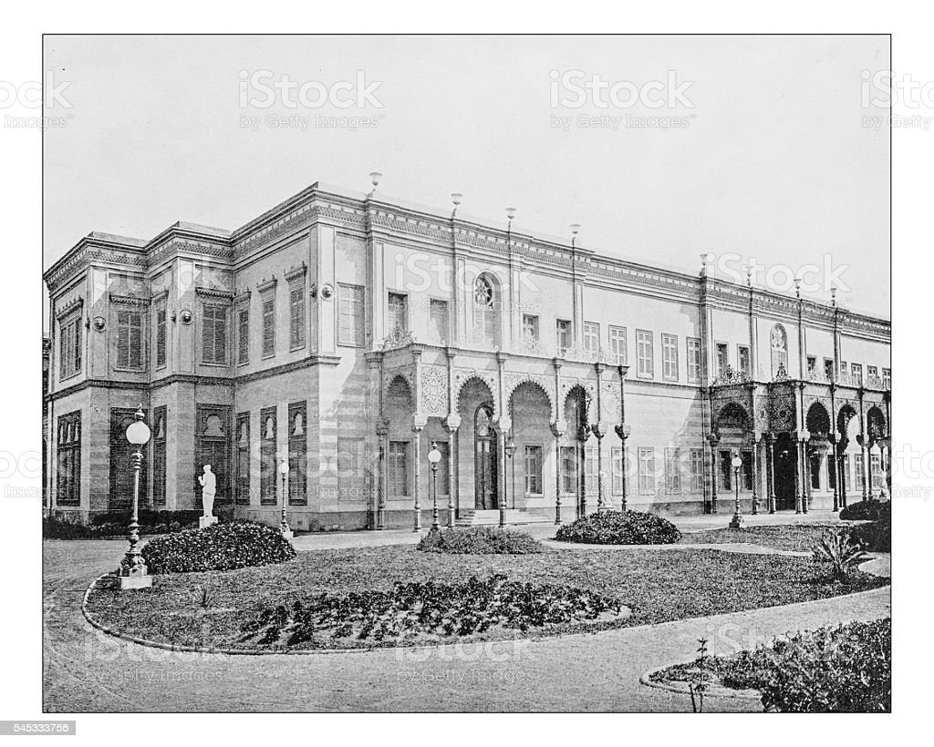 Antique photograph of the Gezirah Palace (Cairo, Egypt)-19th century stock photo