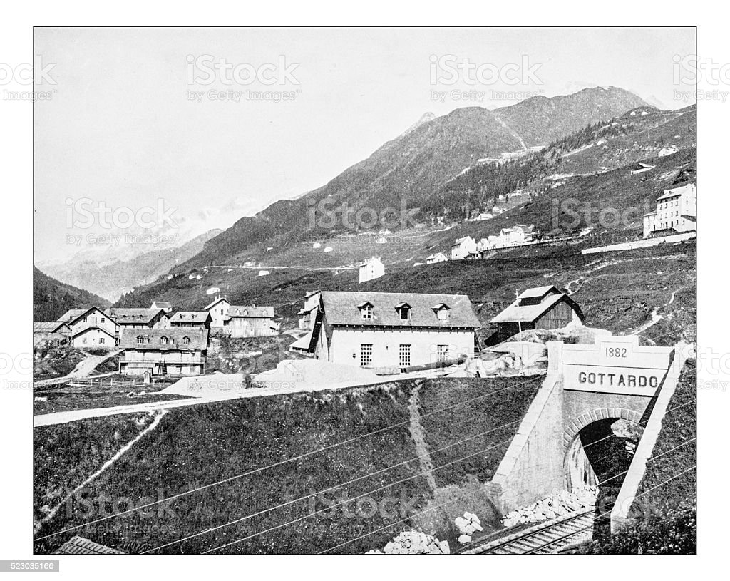 Antique photograph of the Gotthard Tunnel (Airolo, Italy, 19th century) stock photo