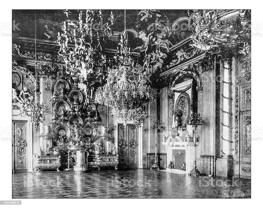 Antique photograph of the Hall of knights (Berlin Royal palace) stock photo