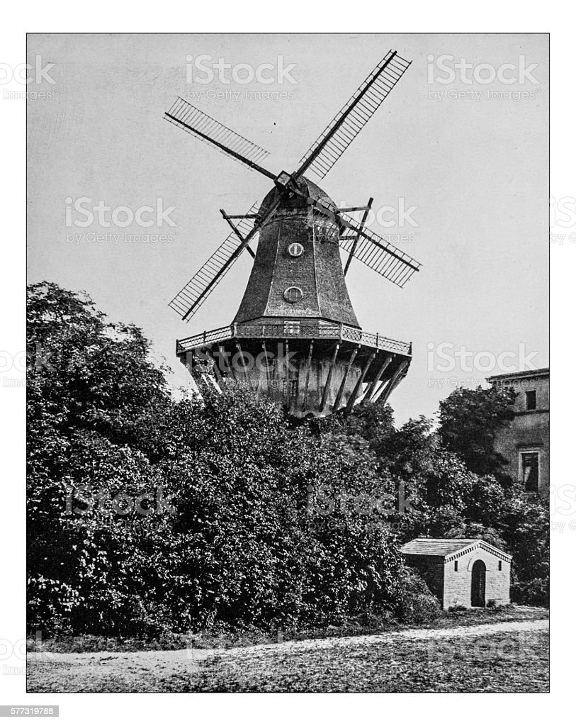 Antique photograph of the Historic Mill in Potsdam (Germany)-19th century stock photo