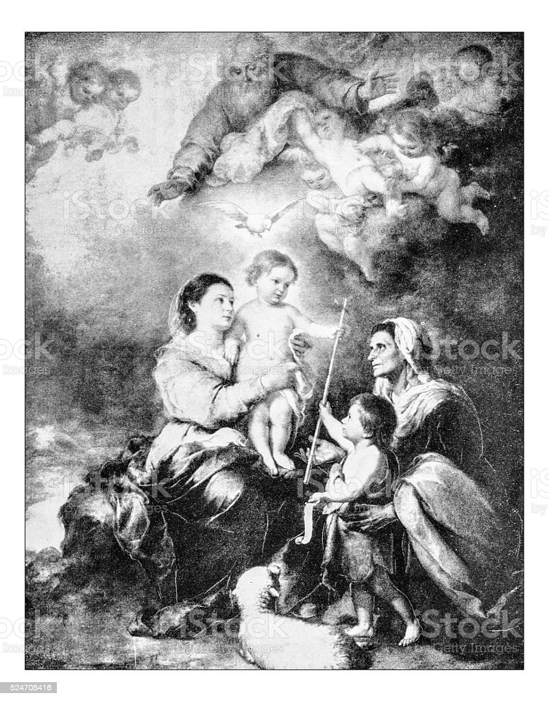Antique photograph of 'the holy family' by Bartolomé Esteban Murillo stock photo