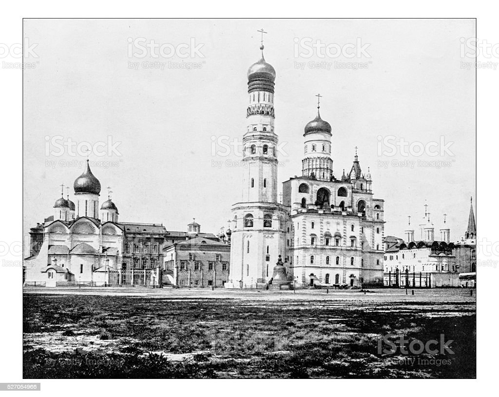 Antique photograph of the Kremlin (Moscow, Russia)-19th century stock photo
