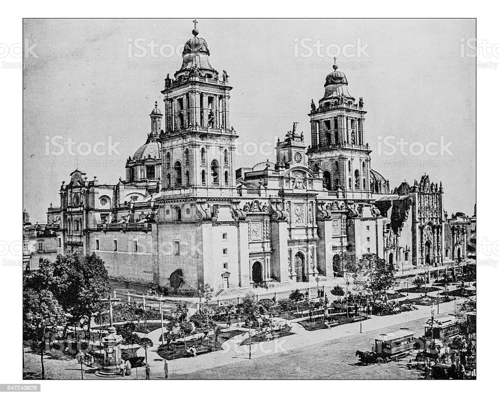Antique photograph of the Metropolitan Cathedral(City of Mexico,Mexico)-19th century stock photo