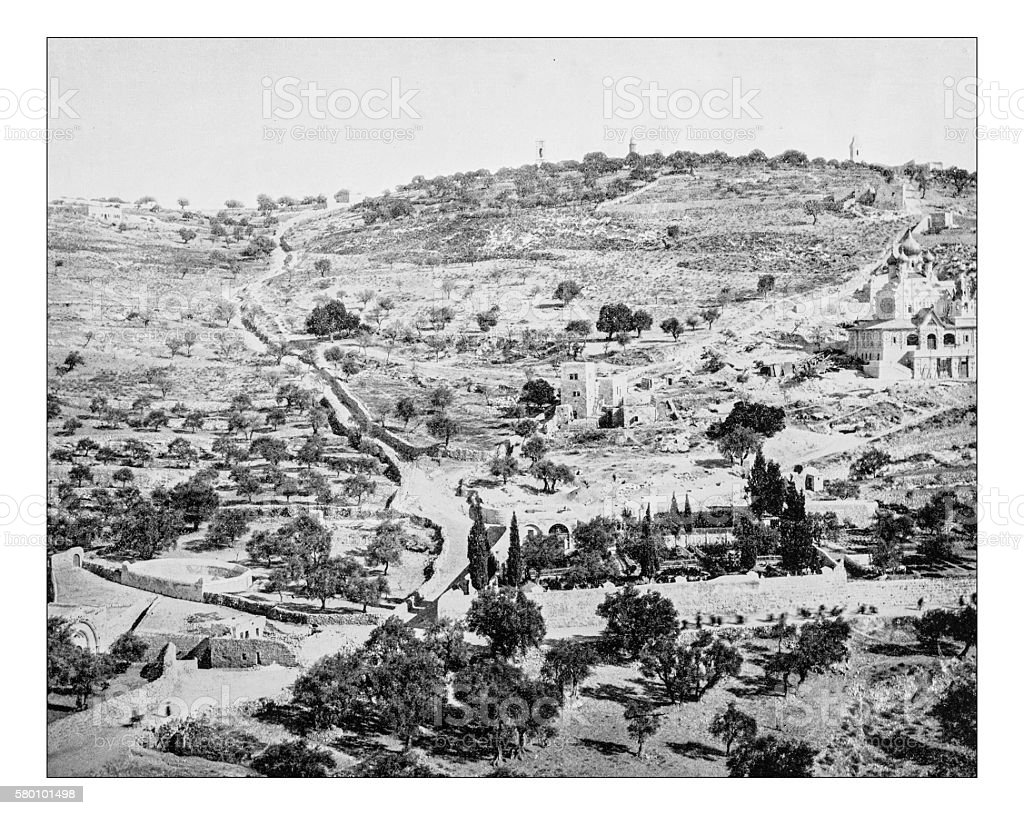 Antique photograph of the Mount of Olives (Jerusalem, Israel)-19th century stock photo