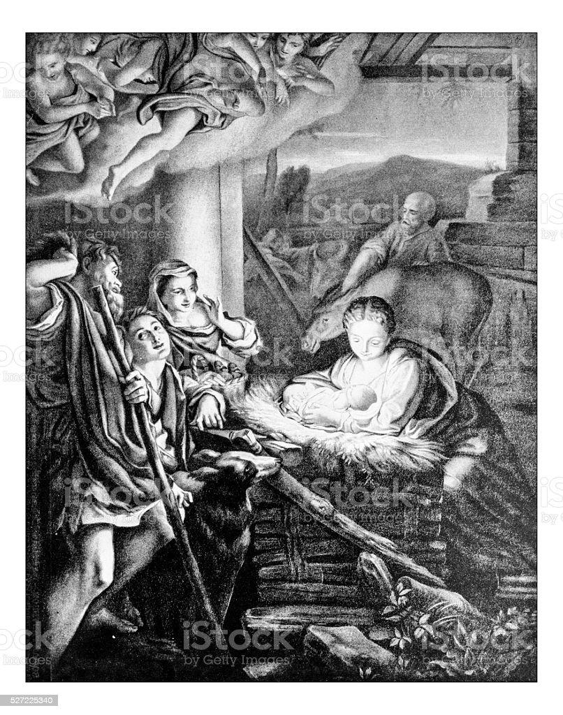 Antique photograph of the Nativity painted by  Antonio da Correggio stock photo