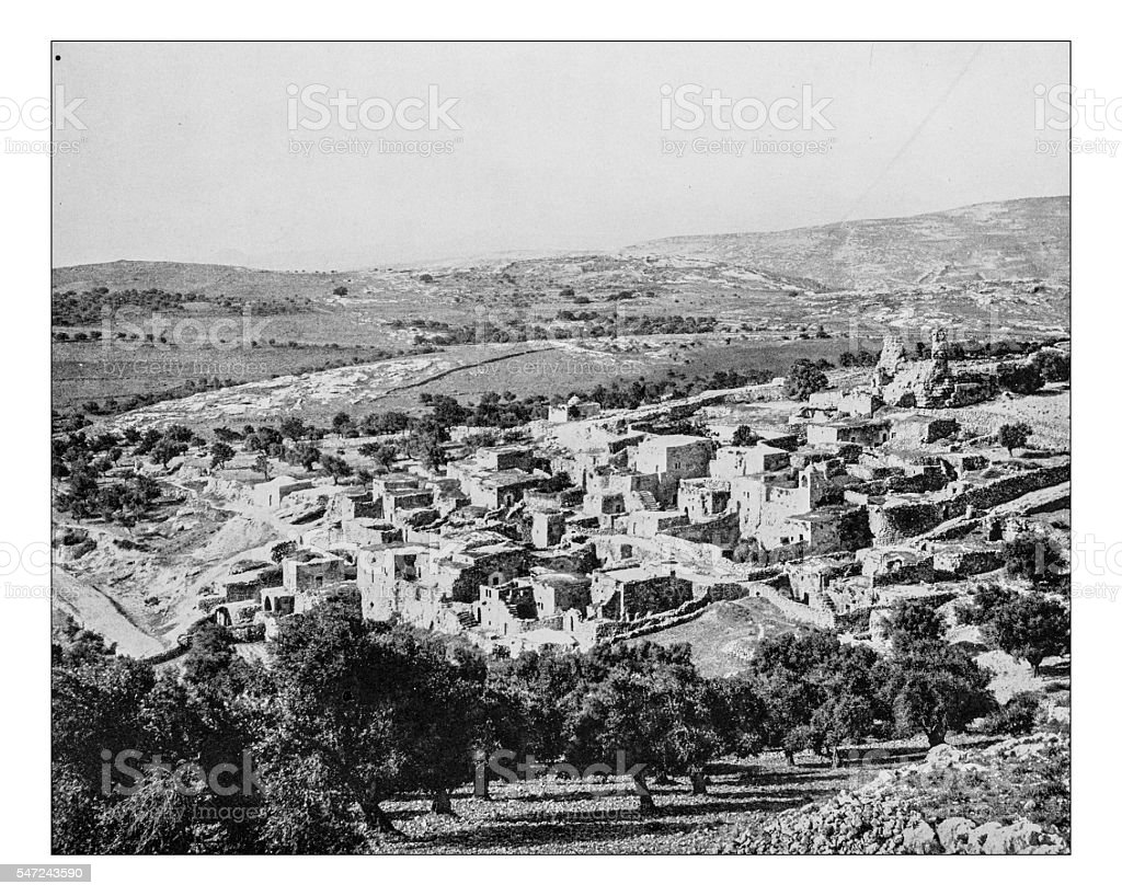 Antique photograph of the New Testament village Bethany (Palestine)-19th century. stock photo