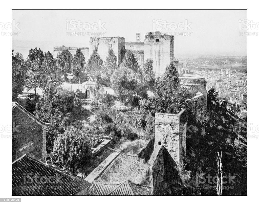 Antique photograph of the palace of Alhambra (Granada, Spain)-19th century stock photo