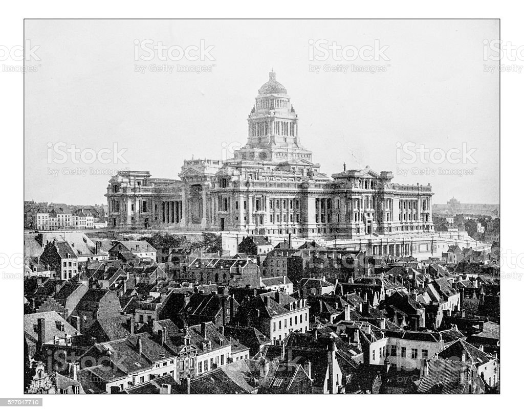 Antique photograph of The Palace of Justice (Brussels, Belgium) stock photo