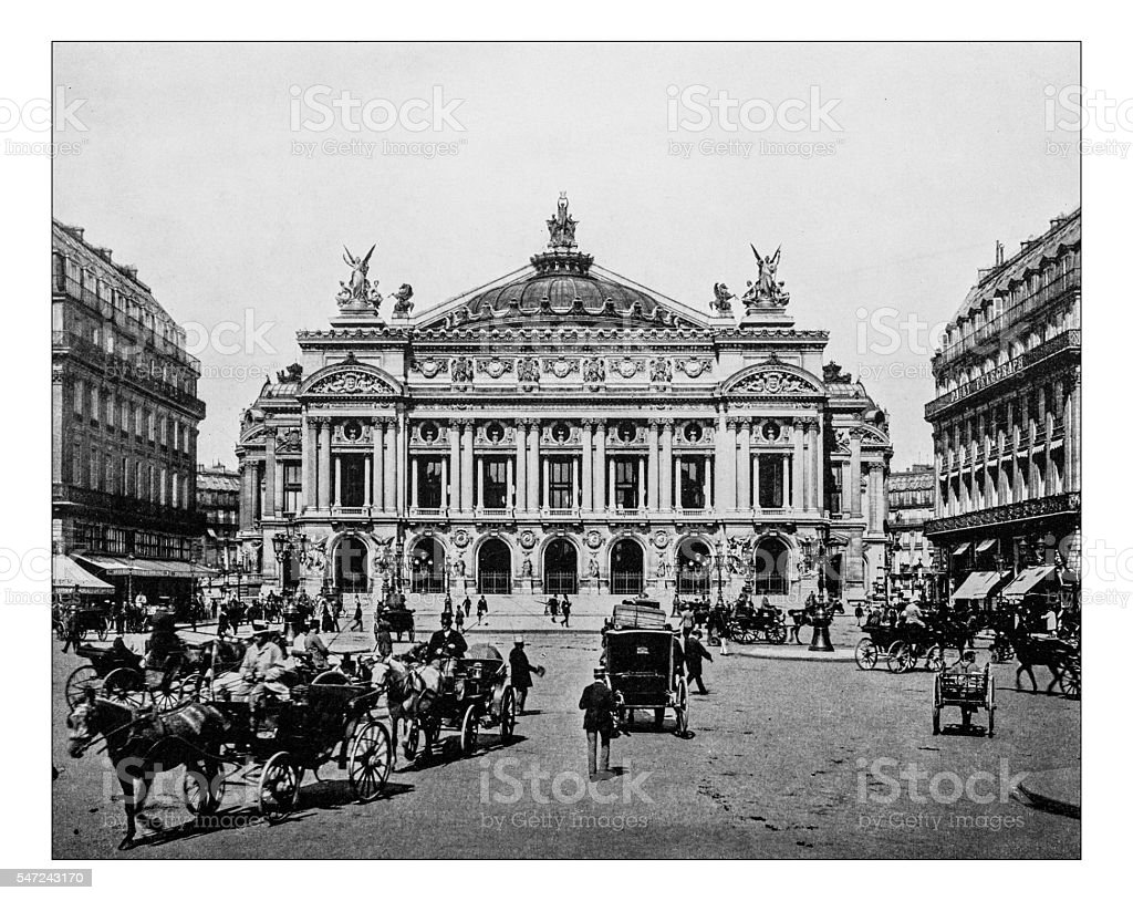 Antique photograph of the Palais Garnier (Paris, France)-19th century stock photo