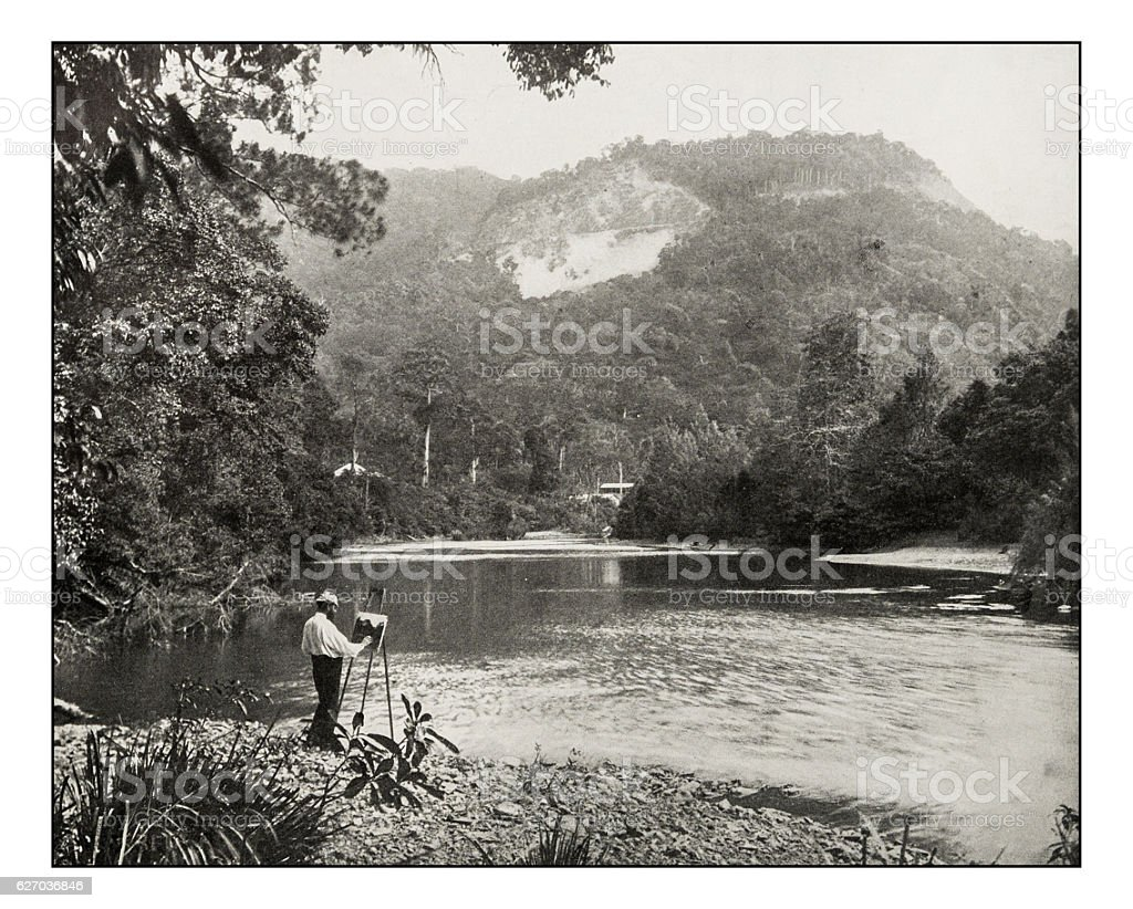 Antique photograph of the Red Bluff on river Norman, Queensland stock photo