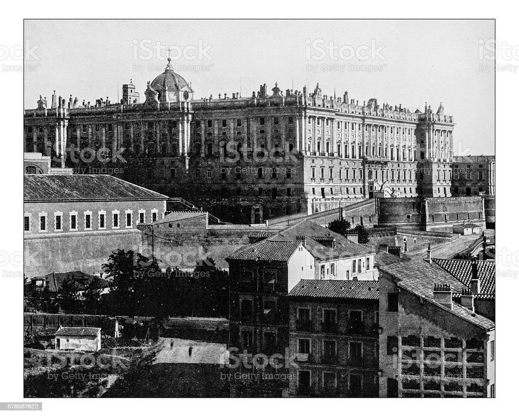 Antique photograph of the Royal Palace of Madrid (Spain)-19th century stock photo