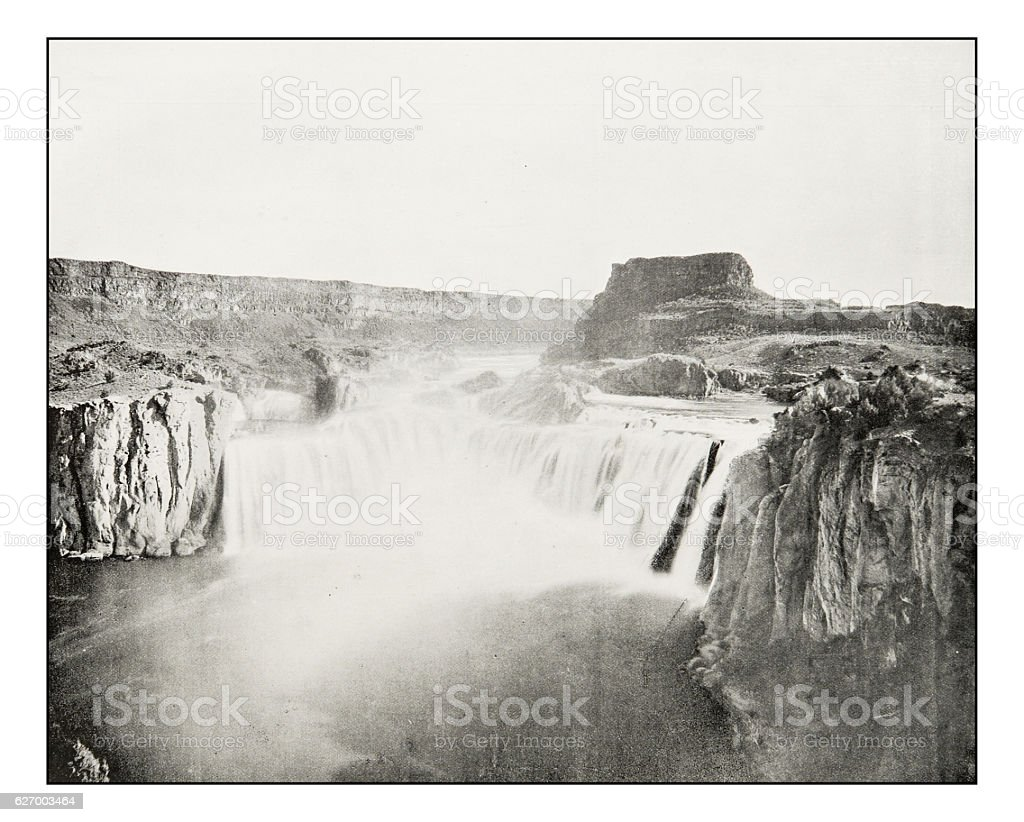 Antique photograph of the Shoshone Falls, Idaho stock photo