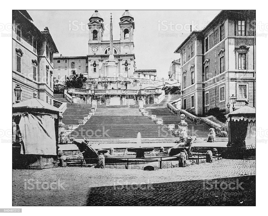 Antique photograph of the Spanish Steps in Rome (Italy)-19th century stock photo