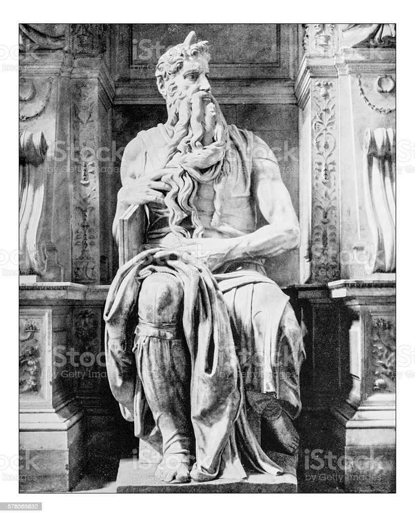 Antique photograph of the statue of Moses by Michelangelo(Rome, Italy) stock photo