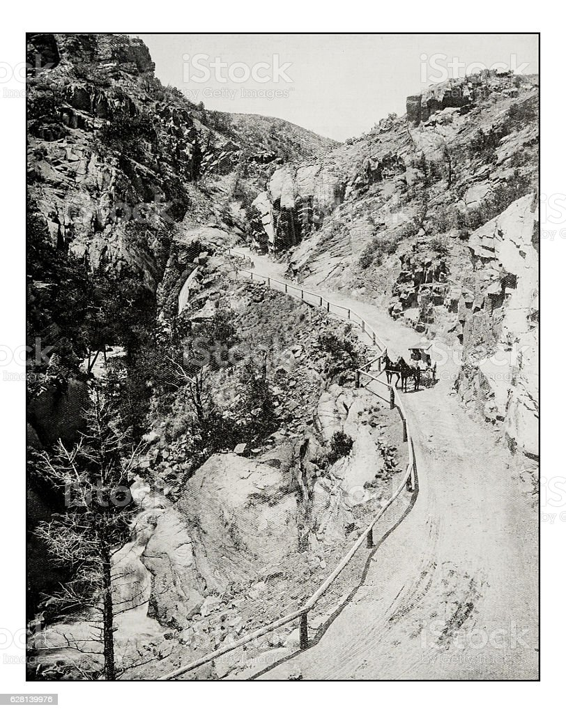 Antique photograph of The Ute Pass, Pike's Peak stock photo