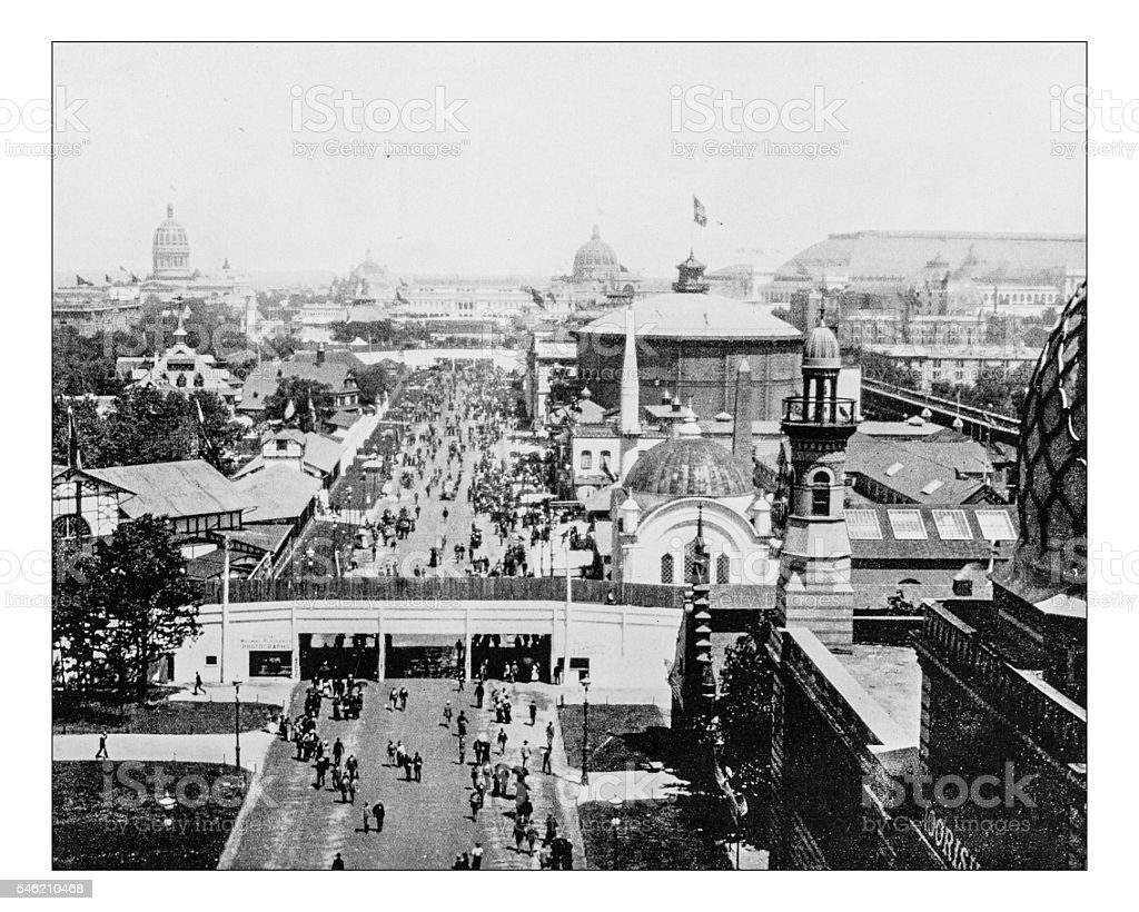 Antique photograph of the World's Columbian Exposition (Chicago,USA)-1893, stock photo