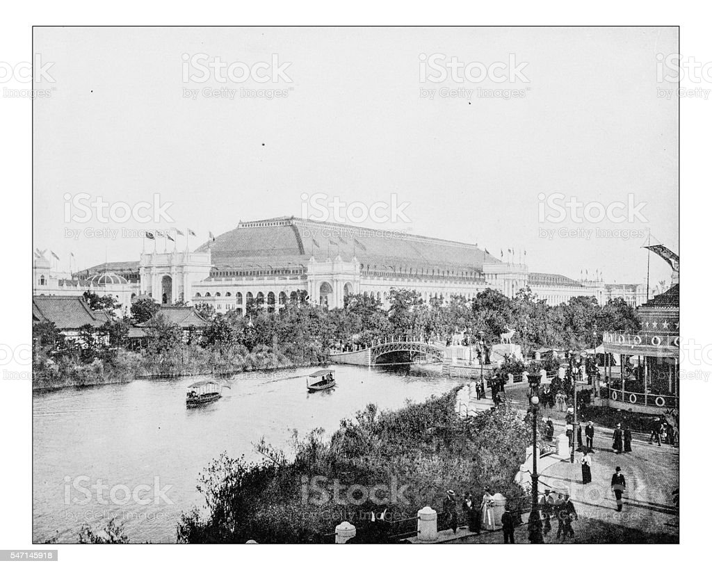 Antique photograph of the World's Columbian Exposition (Chicago,USA)-1893 stock photo