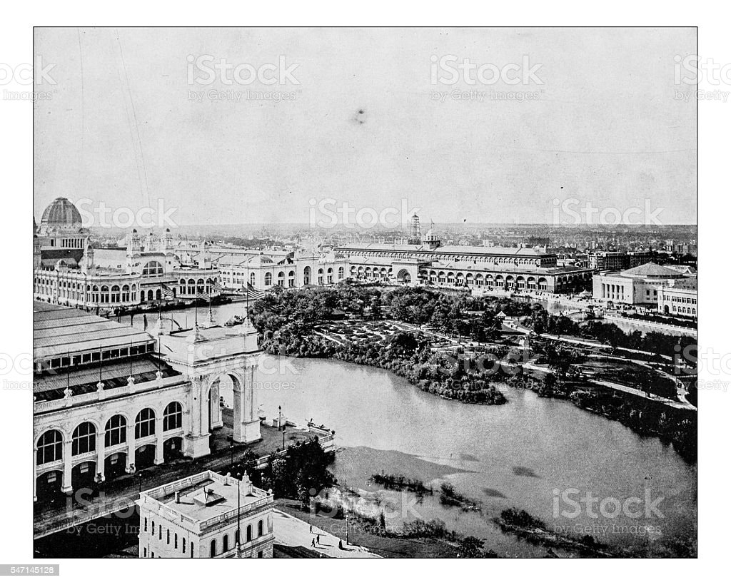 Antique photograph of the World's Columbian Exposition (Chicago,USA-1893) stock photo