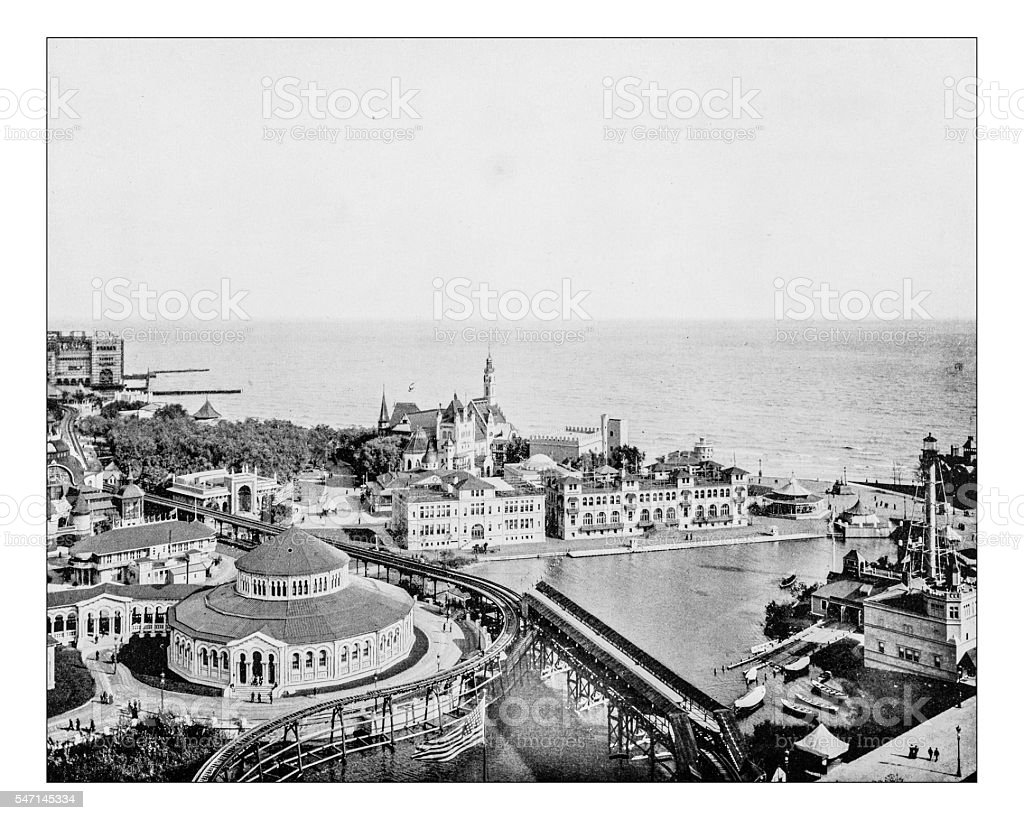 Antique photograph of the World's Columbian Exposition (Chicago,USA,1893) stock photo