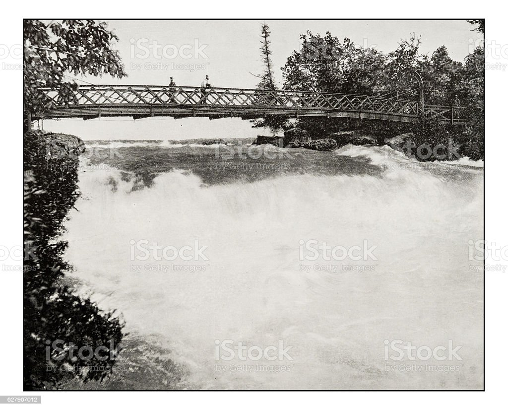 Antique photograph of Three Sisters Bridge stock photo