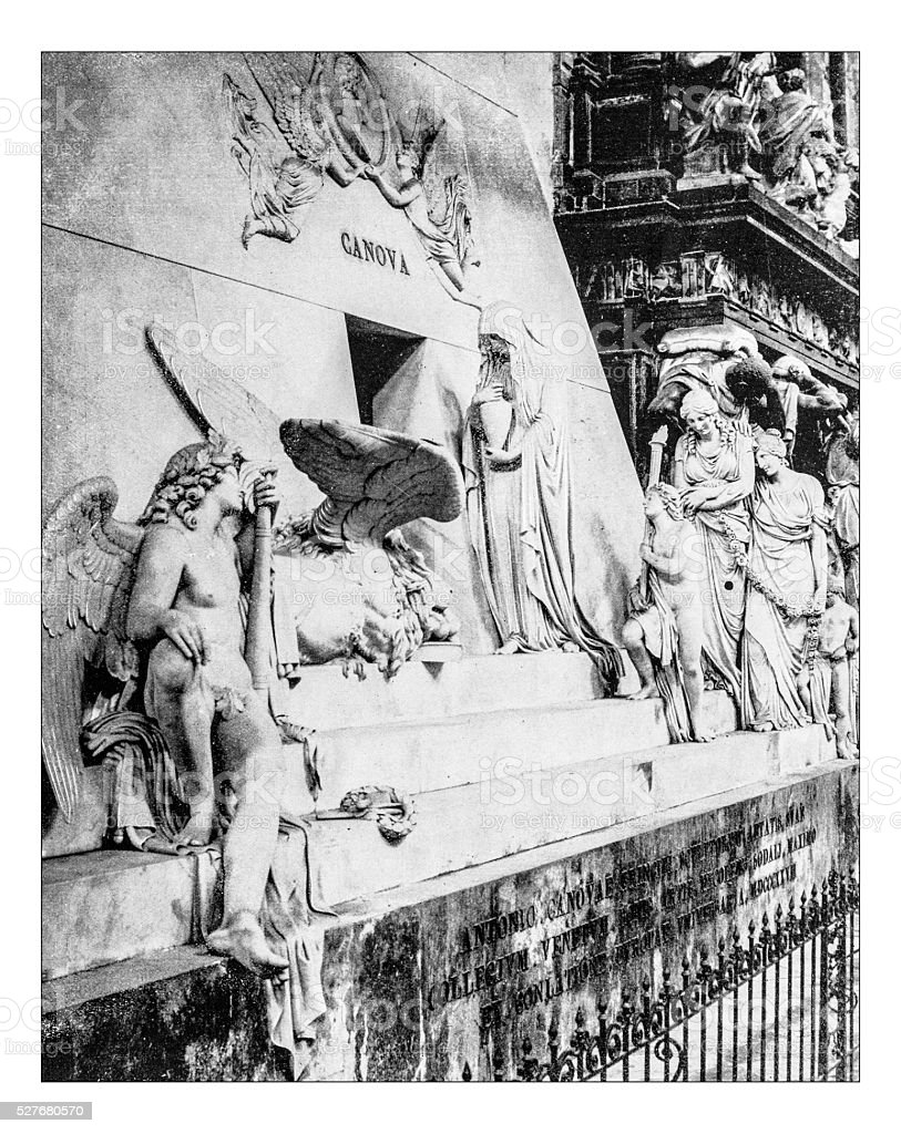 Antique photograph of tomb of Canova (Frari Cathedral,Venice,Italy) stock photo