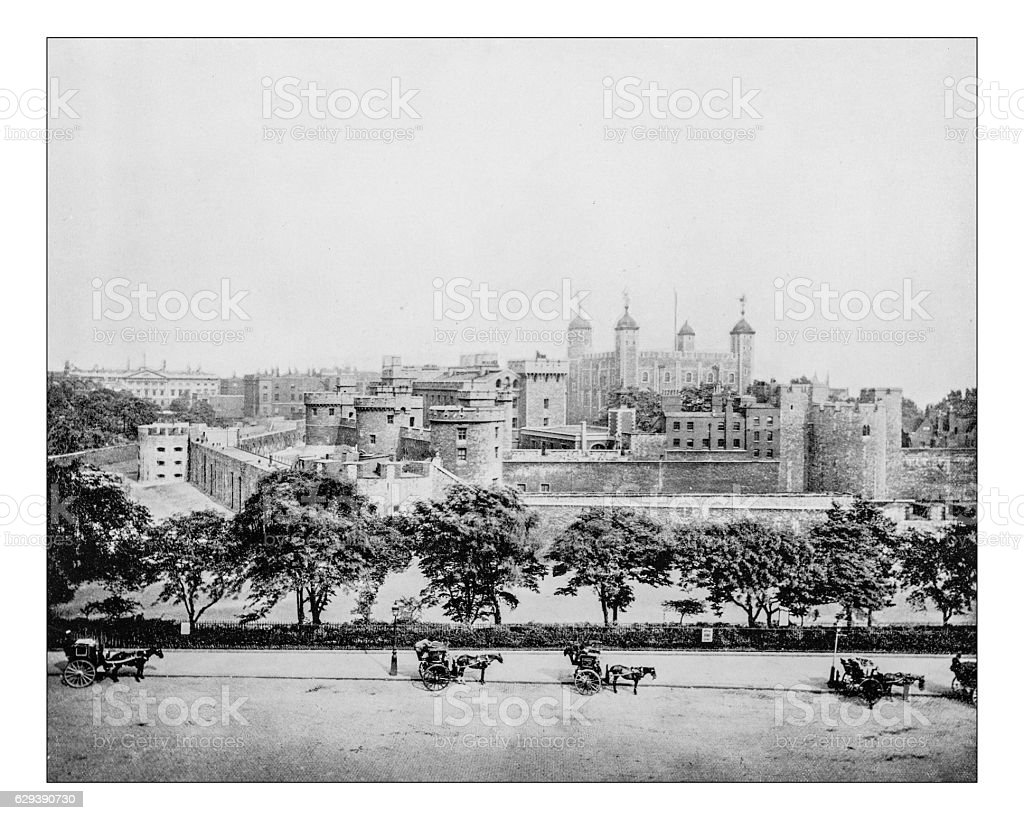 Antique photograph of Tower of London (England)-19th century picture stock photo
